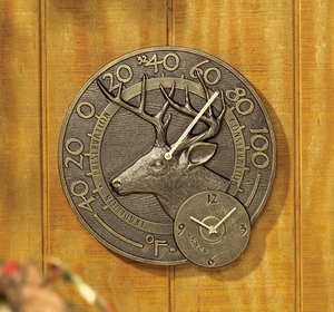 Whitehall Whitetail Thermometer Clock Combo