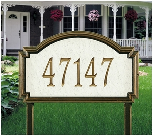 Williamsburg Artisan Stone Estate Lawn Address Sign - One Line