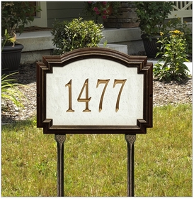 Whitehall Williamsburg Artisan Stone Standard Lawn Address Sign - One Line