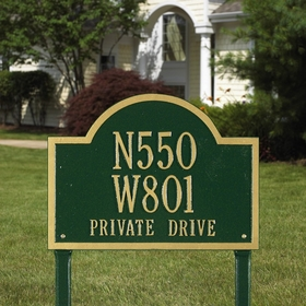 Whitehall Wisconsin Special Standard Three Line Lawn Address Sign