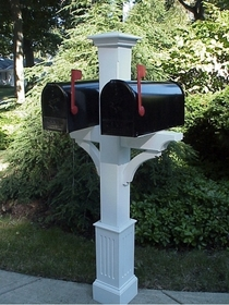 Wooden Cedar Double Mailbox Post