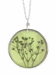 "Baby's Breath 16"" Lg Rd Necklace-Green"