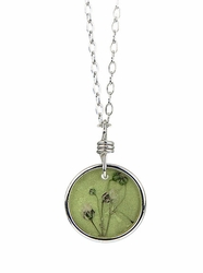 "Baby's Breath 16"" Petite Rd Necklace-Green"