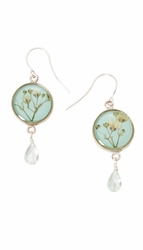 Baby's Breath Blue Petite Rd. w/ Drop Earrings