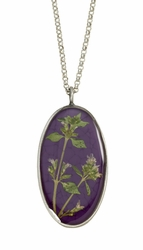 Blooming Thyme on Acai LG Oval Necklace