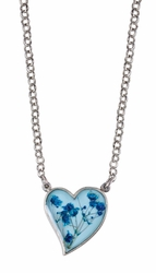 Blue Baby's Breath on Blue Med. Hearts Pendant