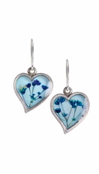 Blue Baby's Breath on Blue Sml. Hearts Earrings