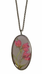 Boronia on Deep Grey LG Oval Necklace