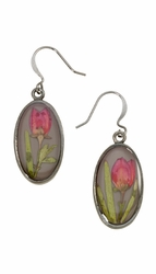 Boronia on Deep Grey SM Oval Earrings