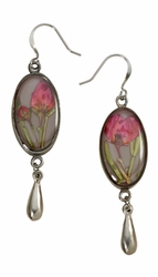 Boronia on Deep Grey SM Oval Earrings w/Drop