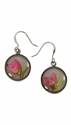 Boronia on Deep Grey SM RND Earrings