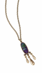 "BQAL Sm Oval w/Triple Drop 16"" Adj. Necklace"
