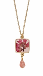 "Coral Bell Square w/Drop 16"" Adj. Necklace"