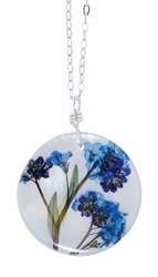 "Forget Me Not on Shell 16"" Lg Rd. Necklace"