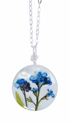 "Forget Me Not on Shell 16"" Med Rd. Necklace"