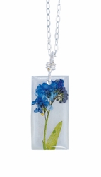 "Forget Me Not on Shell 16"" Med Rect. Necklace"