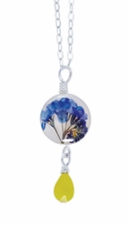 "Forget Me Not on Shell 16"" Petite Rd. Pd w/Drop Necklace"