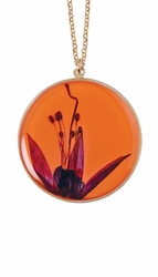 "Fuchsia on Nectarine Large Round 18"" Necklace"