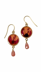 Fuchsia on Nectarine SM RND Earrings w/Drop