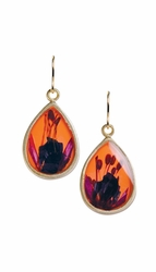 Fuchsia on Nectarine Teardrop Earrings