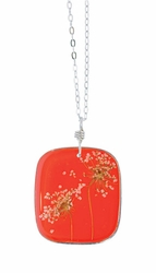 "Laceflower Blood Orange 16"" Lg Sq. Necklace"