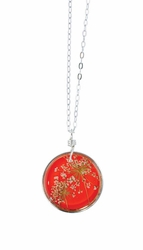 "Laceflower Blood Orange 16"" Med Rd. Necklace"