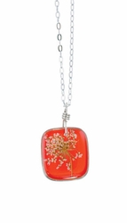 "Laceflower Blood Orange 16"" Med Sq. Necklace"
