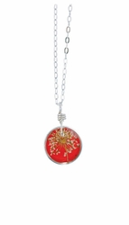 "Laceflower Blood Orange 16"" Petite Rd. Necklace"