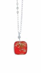 "Laceflower Blood Orange 16"" Sml Sq. Necklace"