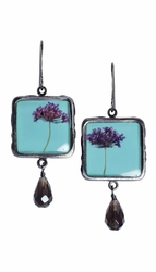 Laceflower Blue on Sml Sq. w/Drop Earrings
