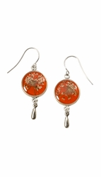 Laceflower on Blood Orange SM Rnd Earrings w/ Drop