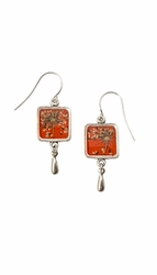 Laceflower on Blood Orange SM SQ Earrings w/Drop