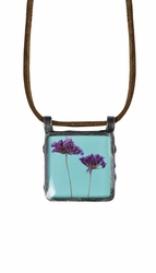 "Laceflower on Blue 16"" Lg Sq. Suede Necklace"