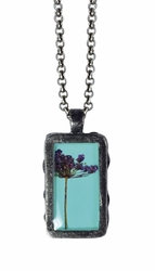 """Laceflower on Blue 16"""" Sml Necklace"""