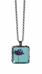 "Laceflower on Blue 16"" Sml Sq. Necklace"