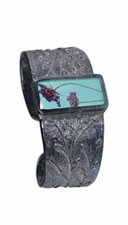 Laceflower on Blue Rect. Cuff