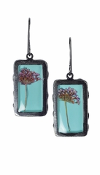 Laceflower on Blue Sml Rect Earrings