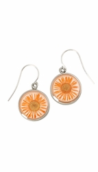 Orange Daisy SM Round Earrings