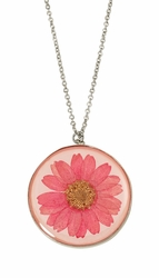Pink Daisy MED Round Necklace