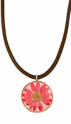 Pink Daisy MED Round Leather Necklace