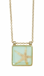 Pink Starfish Aqua Med Sq Necklace