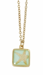 Pink Starfish Aqua Sm Sq Necklace