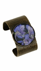 Purple Larkspur on Black LG Cuff Bracelet