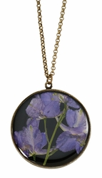 Purple Larkspur on Black LG RND Necklace