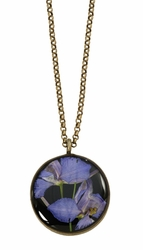 Purple Larkspur on Black MED RND Necklace