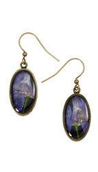 Purple Larkspur on Black SM Oval Earrings