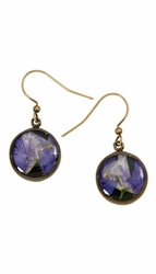 Purple Larkspur on Black SM RND Earrings