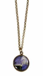 Purple Larkspur on Black SM RND Necklace