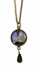 Purple Larkspur on Black SM RND Pendant Necklace w/Drop