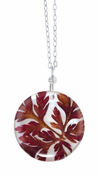 "Red Fern on Shell 16"" Lg Rd. Necklace"